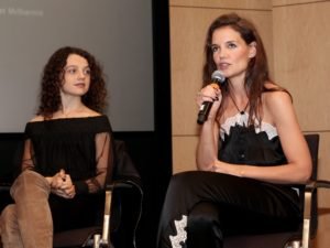 "Actress Katie Holmes answers questions during a Q&A following the showing her movie, ""All We Had"" which she starred and directed. Photo by Kari Ruel"