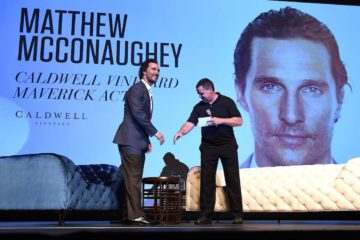 YOUNTVILLE, CA - NOVEMBER 10: Matthew McConaughey and Moderator Mike Fleming attend the Matthew McConaughey Caldwell Vineyard Maverick Actor Tribute at the Lincoln Theater during the 2016 Napa Valley Film Festival on November 10, 2016 in Yountville, California. (Photo by Frank Micelotta/PictureGroup)
